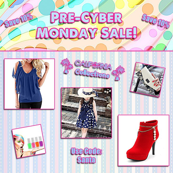 Pre-Cyber Monday Sale!!!  Now is the perfect time to shop our online store. You can get 10% off your ENTIRE order. This sale will not last long.  Use coupon code: Santa  Offer valid until 11/13/2017 @ 7:00am (PST) 9:00am (CST) 10:00am (EST)  Visit our online store!  #boutique #shopping #sale #discount #fashionista #beauty #family