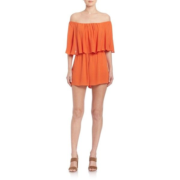 Alice and Olivia Alivia Off-The-Shoulder Short Jumpsuit ($125) ❤ liked on Polyvore featuring jumpsuits, apparel & accessories, tangerine, off shoulder jumpsuit, red jump suit, short jumpsuits, alice olivia jumpsuit and off the shoulder jumpsuit
