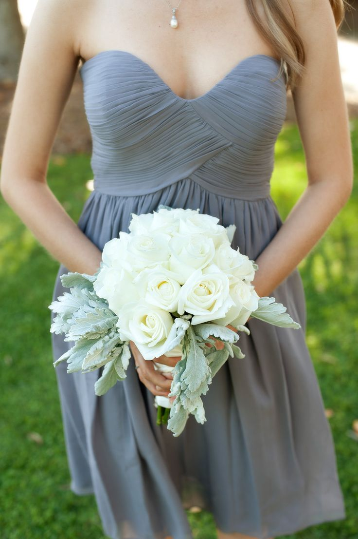 Urbane strapless gray dress with Rose and Dusty Miller #bouquet.   Photography: VISIO Photography - www.visiophotography.com  Read More: http://www.stylemepretty.com/2014/06/16/sleek-and-modern-charleston-wedding/