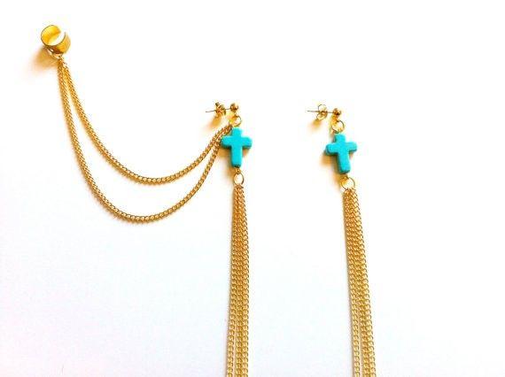 Cercei tip ear cuff, cu cruci turcoaz si lanturi aurii