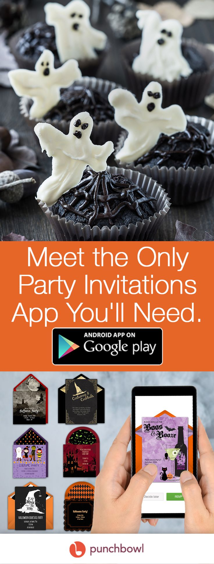 Paper invites are too formal, and emails are too casual. Get it just right with online invitations from Punchbowl. We've got everything you need for your Halloween party. https://play.google.com/store/apps/details?id=com.punchbowl.mobile&hl=en/?utm_source=Pinterest&utm_medium=123.3P