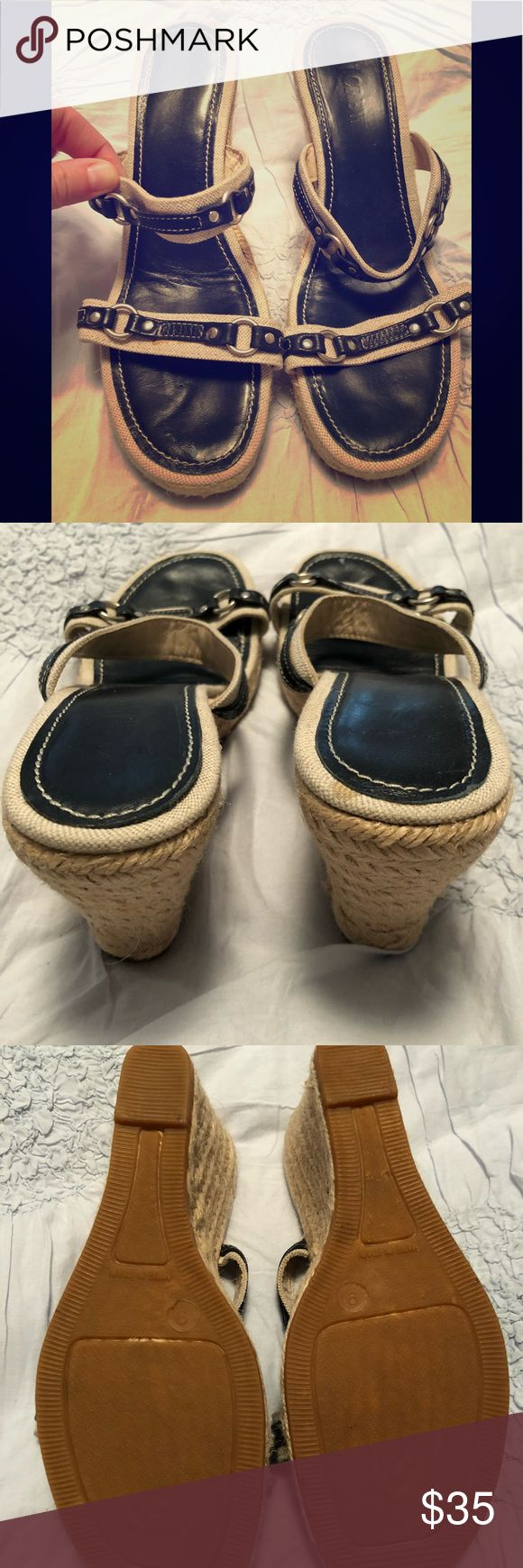 JCrew Navy Espadrille Wedge Size 9 JCrew Espadrille Wedge in Navy. Excellent Condition. Heel is 3.5 in. Size 9. J. Crew Shoes Sandals