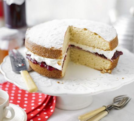 Victoria sponge cake     Conversions:   350 F, 2 sticks butter, 1 cup sugar, 1 cup flour + 1 tsp. baking powder, 1 cup whipped cream