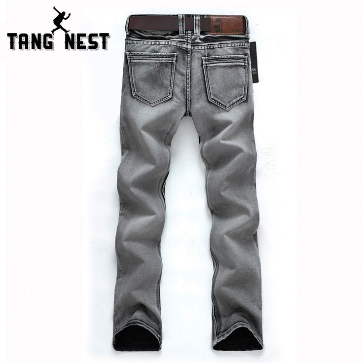 Man's Popular Jeans 2016 Regular Water-washed High Quality Light Grey Plus Size 28-38 For Male Popular For Male 119