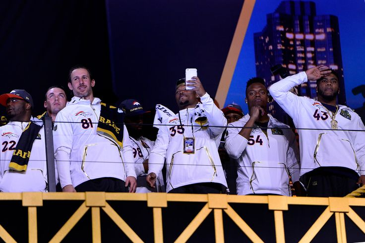 . SAN JOSE, CA - FEBRUARY 01: Denver Broncos strong safety T.J. Ward (43) salutes the crowd as the Broncos are introduced to the rowd at the Super Bowl 50 Opening Night at the SAP Center, San Jose, CA. February 01, 2016 (Photo by Joe Amon/The Denver Post)