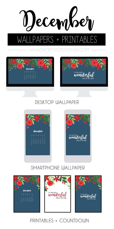 December Wallpaper Printables