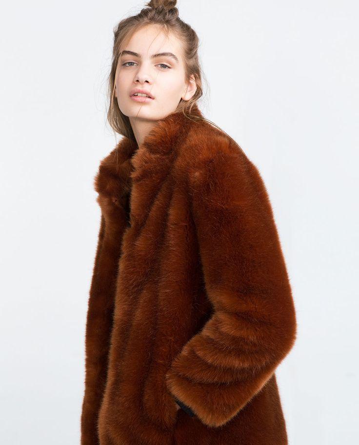 Faux Fur Coat View All Outerwear, Zara Faux Fur Coat With Hood