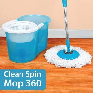 Clean Spin Mop 360 by Viatek. $39.97. Just like the Hurricane Mop - only stronger pole. Spins at over 1,000 rotations per minute. Includes mop with head, wringer bucket. Mop head is washable & reusable. The Clean Spin 360° lets you clean & dry in one step, without dripping, leaking or harsh detergents! Simply place the Spin Mop in the Spin Bucket, pump the spin handle & watch it spin at over 1,000 rotations per minute. Mop spins & cleans, while grime transfers to the w...