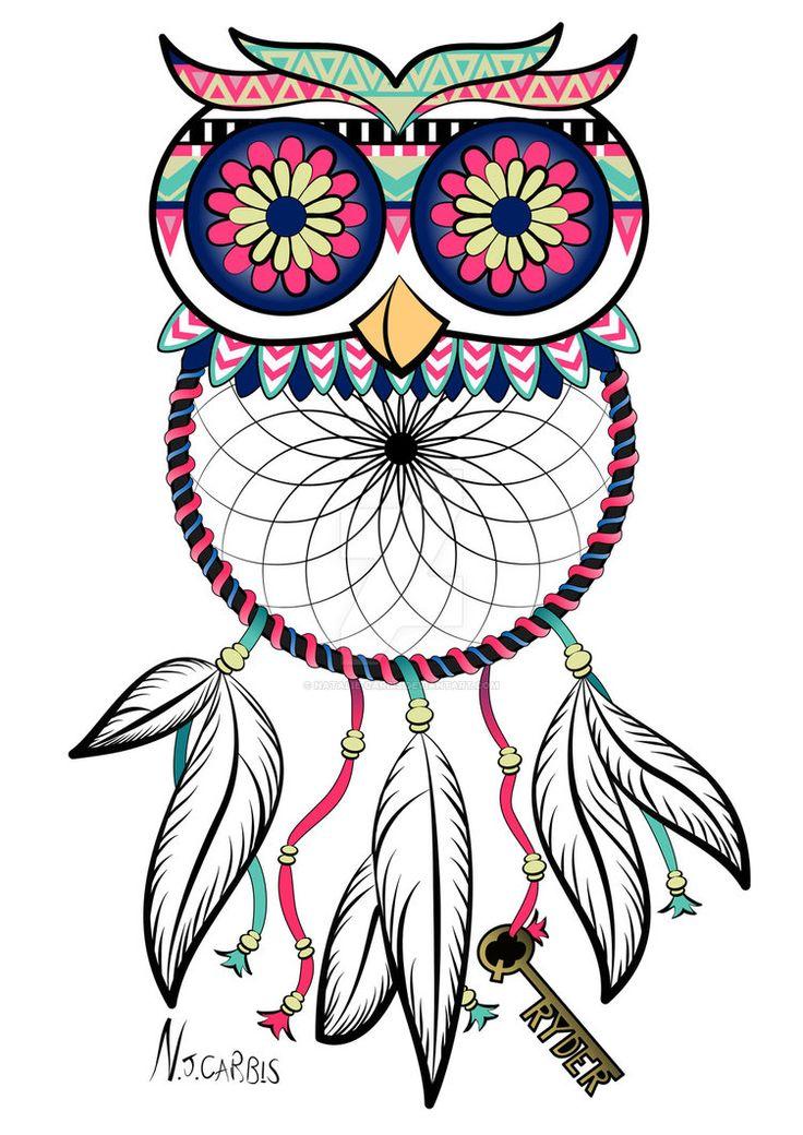 Owl Dreamcatcher Tattoo by natalie-carbis