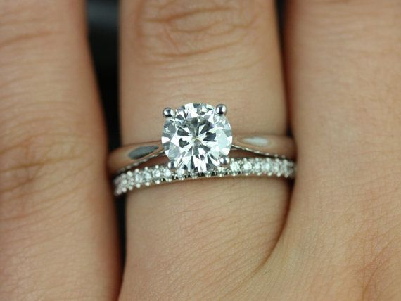 Flora Medio & Kierra 14kt White Gold FB Moissanite and Diamond Cathedral Solitaire Wedding Set  (Other metals and stone options available)