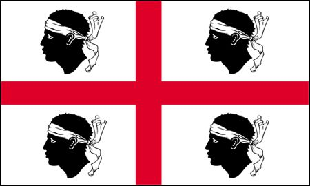 Sardinia (Sardegna) is a region of Italy, and this traditional Sardinian flag dates to the late 14th century. The white field is dominated by a red cross, and four moors heads.