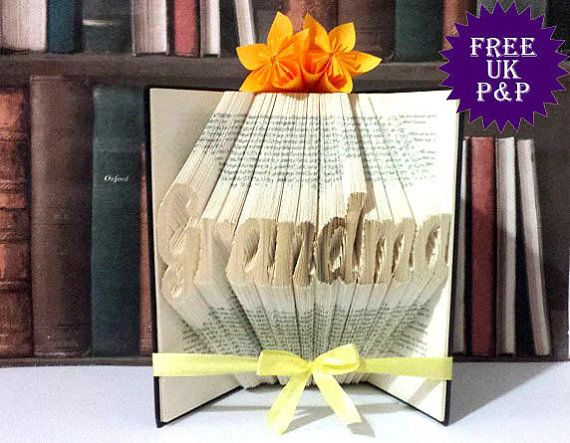 Grandma gift, customised book art for gran and granny, nana and nanny. Gift for book lovers. Free UK postage