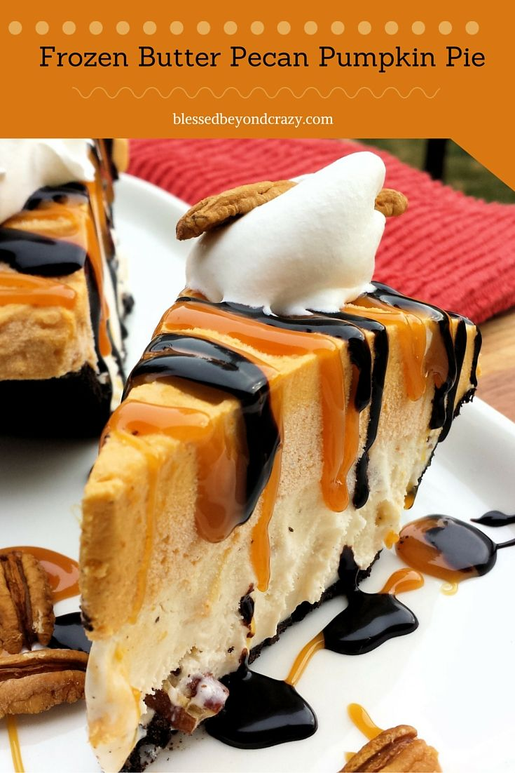 Frozen Butter Pecan Pumpkin Pie (GF Option) plus it's easy and No Bake too. A Perfect dessert.