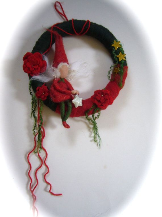 Wreath Christmas FairyAdvent. Needle Felted. Waldorf by FilzArts, $49.50