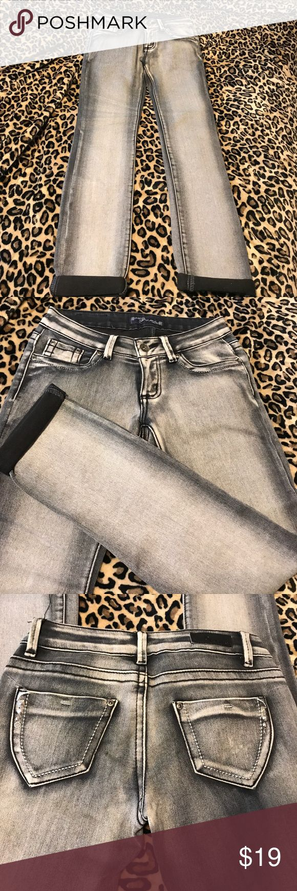 🔥Acid washed  jeans🔥 Black distressed stretchy skinny jeans cuffed pants leg with cute bling on the back pocket these are in excellent condition P&P Jeans Jeans Straight Leg