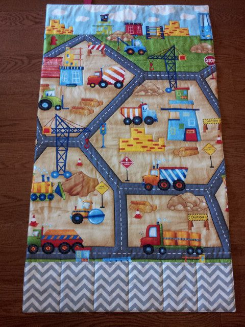 Construction Road Fold Up Play Mat. Great Gift for a Little One. Can be personalized.