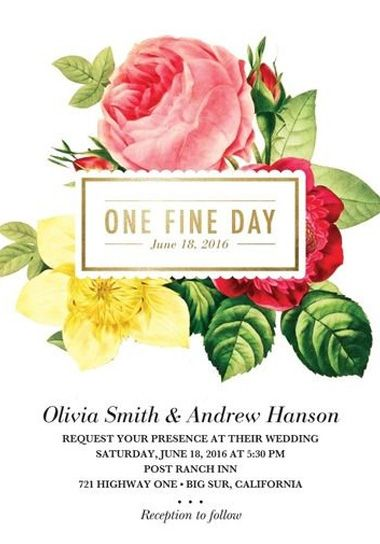 Such a pretty floral wedding invitation!