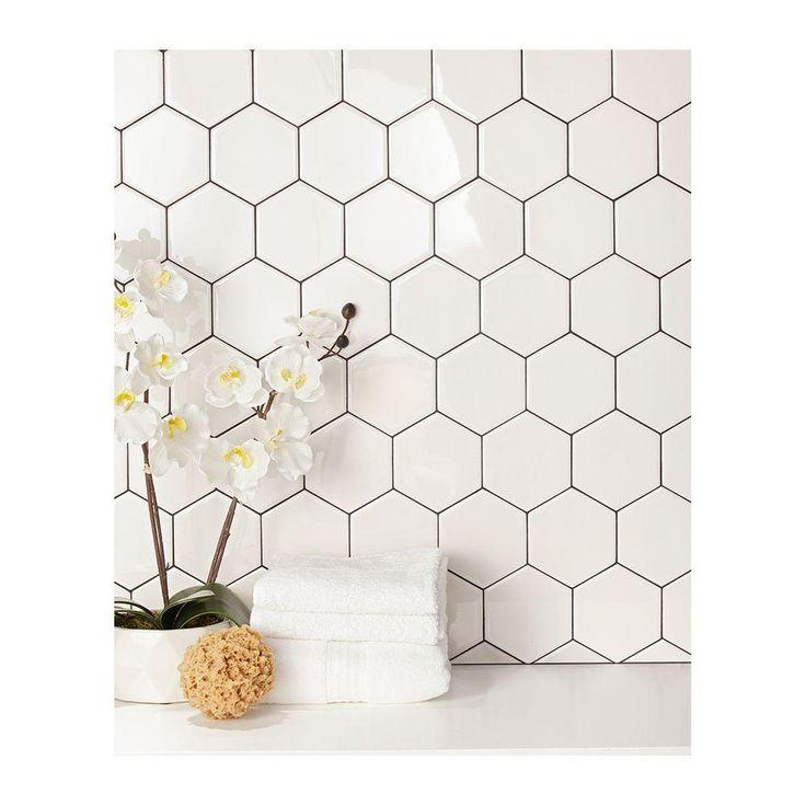 Kitchen backsplash option: Daltile Semi Gloss White Hexagon 4 in. x 4 in. Glazed Ceramic Wall Tile (3 sq. ft. / case)-010044HEXHD1P2 - The Home Depot ($14)