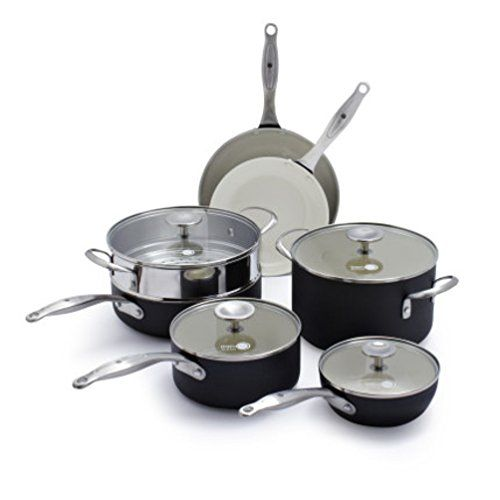 GreenPan Healthy Ceramic Nonstick 10Piece Cookware Set with Bonus Steamer CW001122002 -- Find out more details @