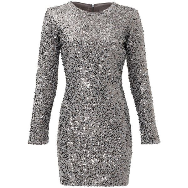 Rental Slate & Willow Silver Aileen Dress (£40) ❤ liked on Polyvore featuring dresses, vestidos, silver, longsleeve dress, long sleeve shift dress, sequin shift dress, silver long sleeve dress and silver shift dress