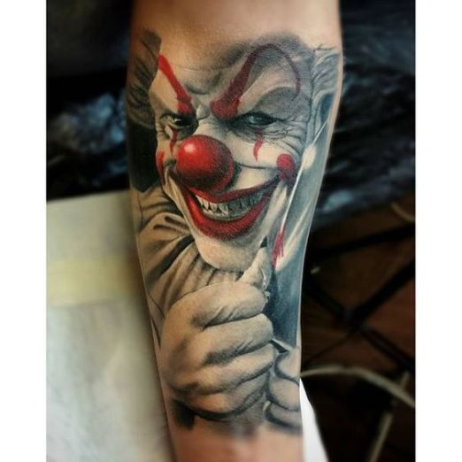 A big red nose is a staple in every clown's closet! #inked #inkedmag #tattoo…