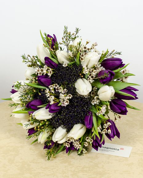 Buchet din lalele, trachelium şi chamelaucium. Combinaţia mov-alb este foarte atractivă şi se potriveşte pentru toate  varstele.   Elegant bouquet with tulips, chamelaucium and trachelium. The purple-white combination is suitable for any age