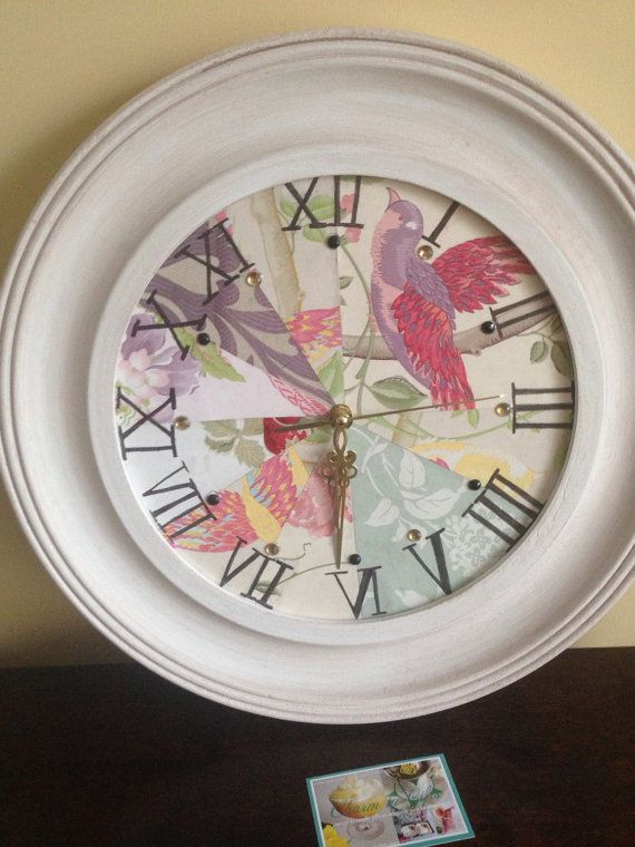 Vintage wall clock, vintage style wall clock, decoupage clock, floral paper clock, home decor, new home gift, kitchen decor, gift for women