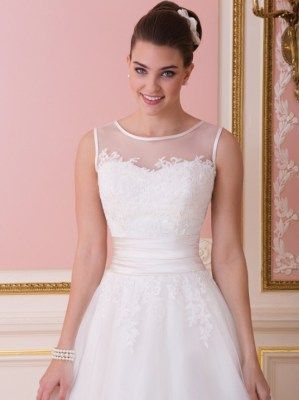 Ball gown wedding dresses with illusion neckline and a bodice that is adorned with lace appliques, Sweetheart - 6007