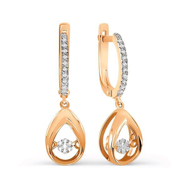 Серьги из красного золота 585 пробы с белыми бриллиантами (арт. Т141027063)ювелирный магазин KARATOV.COM