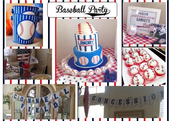 Printable baseball party supplies NO INVITE  by greenmelonstudios, $12.00
