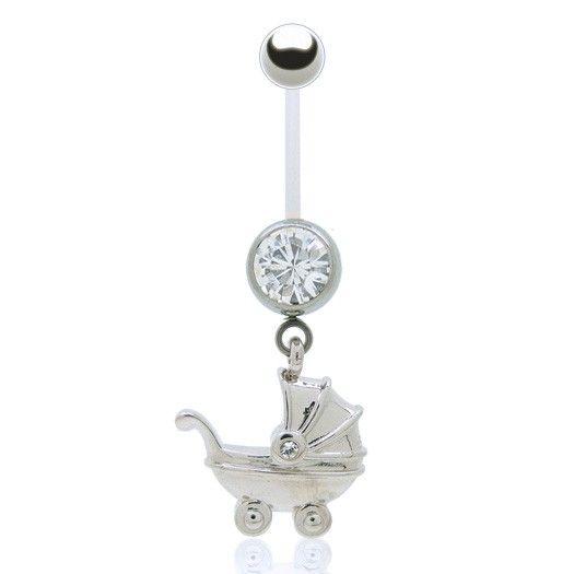 Piercing nombril spécial femme enceinte avec barre souple (bioflex) et boule acier, pendentif poussette en argent.