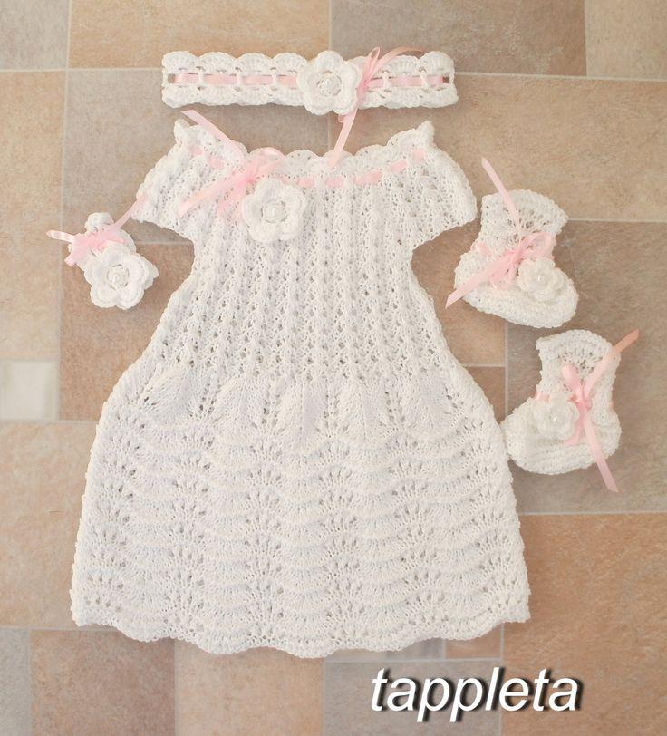 Платье, пинетки и повязка, наряд для крещения, вязанный, белый, подарок для новорожденной девочки by tappleta on Etsy