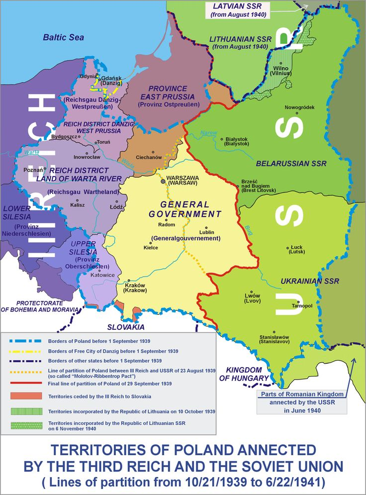 Occupation of Poland 1939 - Poland was partitioned in 1939 as agreed by Germany and Soviet Union in their treaty. Division of Polish territories in 1939-1941. - History of Poland (1939–45) - Wikipedia