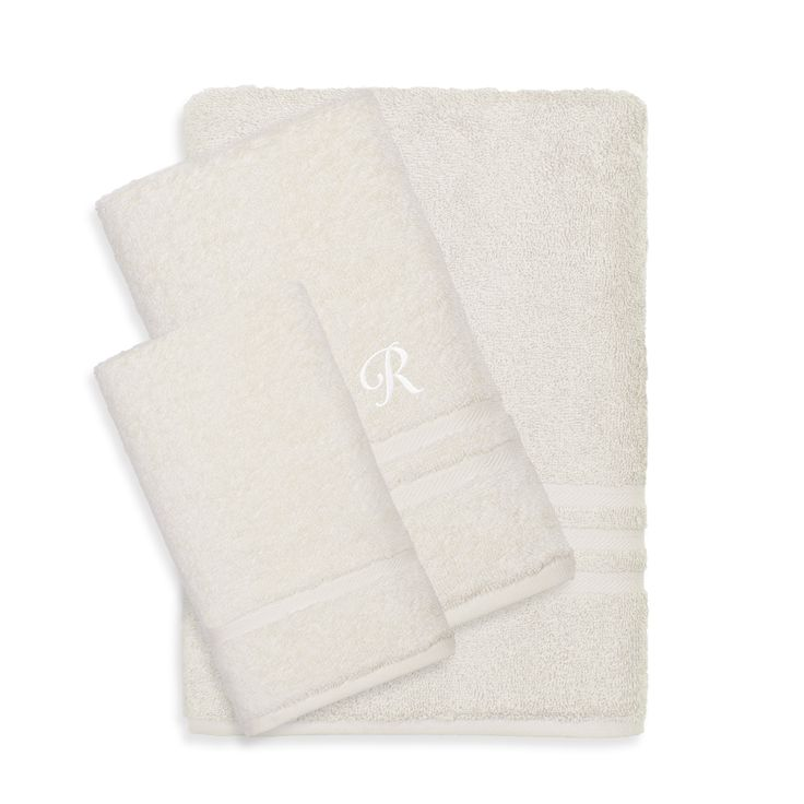 Authentic Hotel and Spa Omni Terry 3-piece Cream Bath Towel Set with White Script Monogrammed Initial