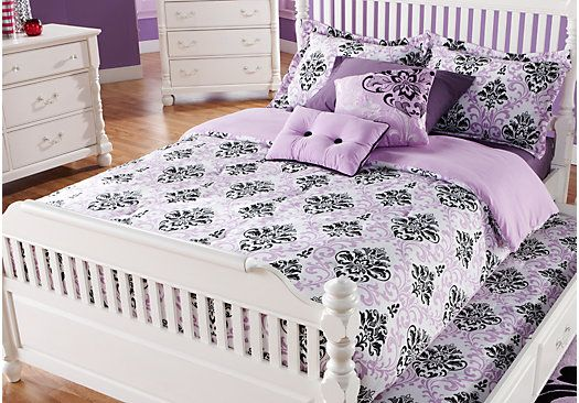 Shop for a Paige Lilac-Black Twin Bed Set at Rooms To Go Kids ...