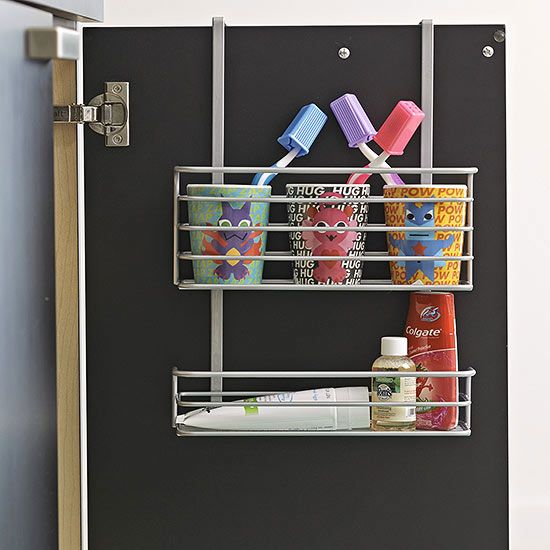 A toothbrush station can eliminate school day stress. Store brushes, toothpaste, and floss in every bathroom so there's no space battles between siblings.