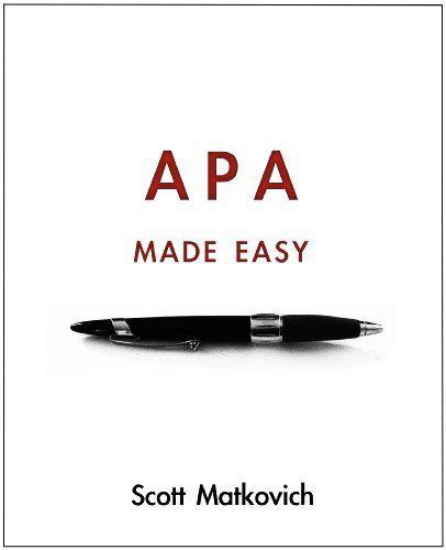 APA Made Easy (APA 6th Edition) by Scott Matkovich, http://www.amazon.com/dp/B0054EXBH6/ref=cm_sw_r_pi_dp_6Dgnrb1B8RJFJ