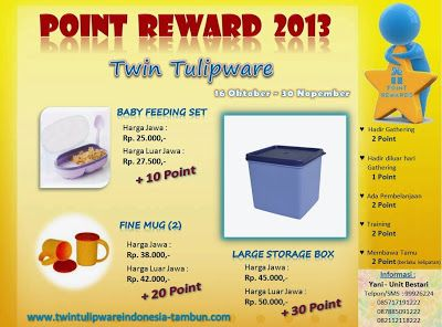 Point Reward Tulipware Oktober - November 2013