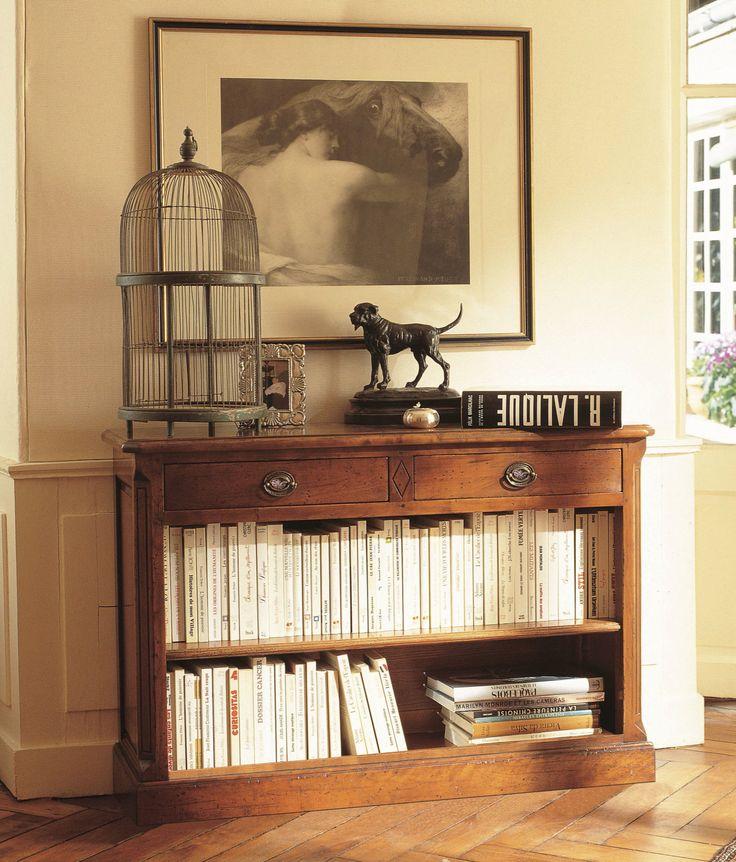 meuble d 39 appui en bois massif de style directoire avec 2 tiroirs et 1 tag re meubles d. Black Bedroom Furniture Sets. Home Design Ideas