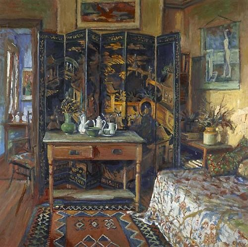 Margaret Olley. Chinese screen and yellow room, 1996.