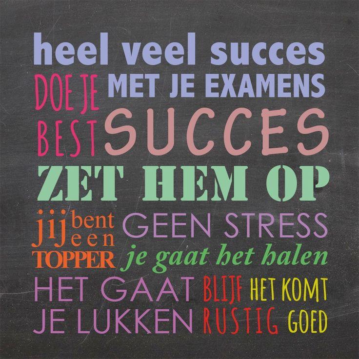 Tegeltjeswijsheid.nl - een uniek presentje - Heel veel succes met je examens Voor alle examen kandidaten een aanmoediging! Tag iemand die wel een steuntje kan gebruiken. http://www.tegeltjeswijsheid.nl/heel-veel-succes-met-je-examens.html