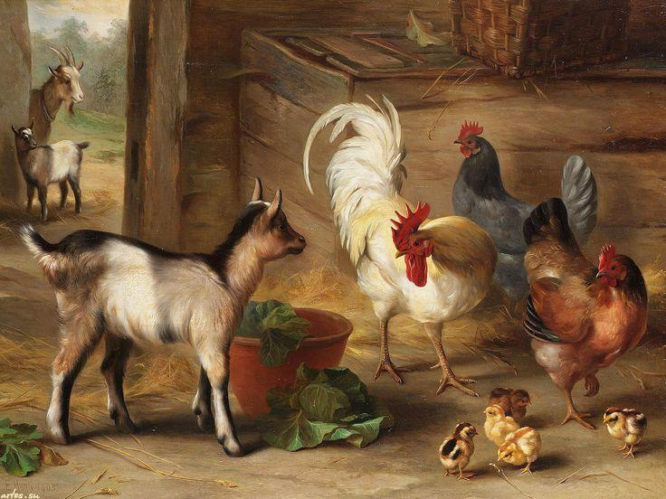 Скачать обои  животные, козы, куры и цыплята в сарае, Edgar Hunt 1600x1200