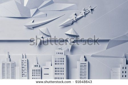 Stylish paper illustration with city and flying people