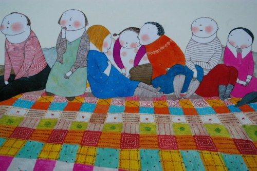 """Story time. (from one of our excellent new library finds, """"The Story Blanket,"""" illustrated by Elena Odriozola)"""