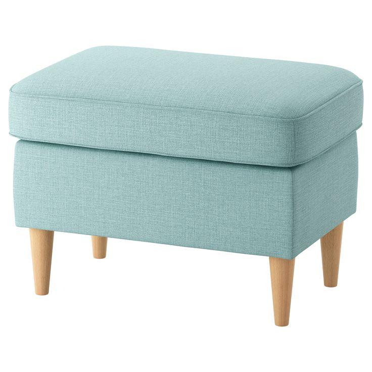 IKEA - STRANDMON, Poggiapiedi, Skiftebo turchese chiaro, , Ideale come sedile supplementare o poggiapiedi.10 anni di garanzia. Scopri i termini e le condizioni nell'opuscolo della garanzia.