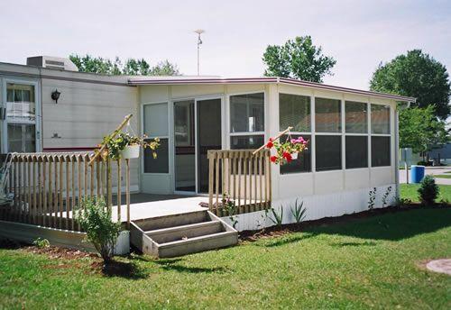 Sunroom model installed on a park model trailer my r v for Rv room additions