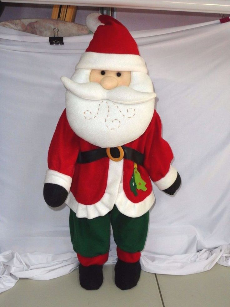 Christmas Tall Standing SANTA Porch Door Greeter Plush DECORATION #Unbranded