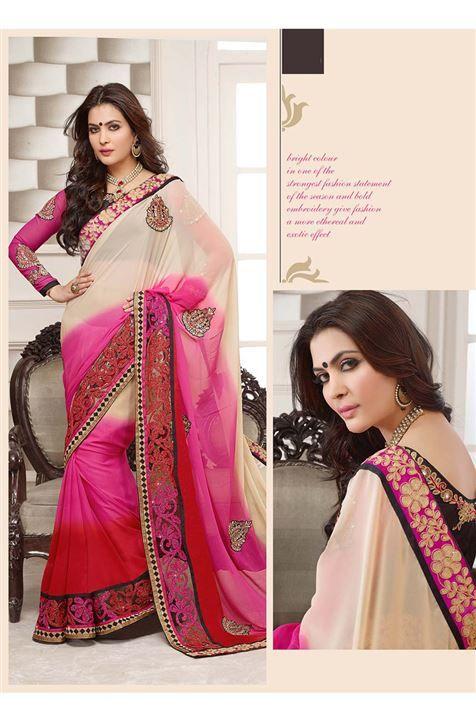 Cream, Red, Hot Pink Georgette Designer party wear saree