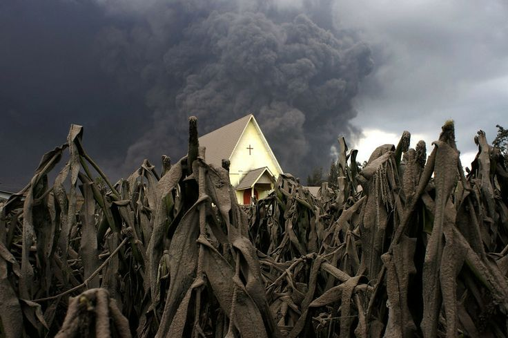 Description of . A church is seen in the middle of a corn field covered with volcanic ash as Mount Sinabung spews volcanic materials as seen...