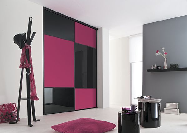 kazed portes de placard coulissantes karacter 2 verre laqu noir et m lamin fuschia pi ce. Black Bedroom Furniture Sets. Home Design Ideas